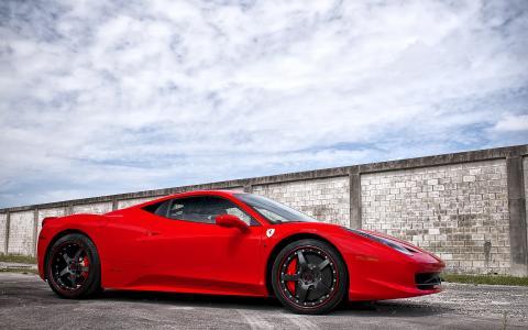 法拉利,458意大利,红色,车轮,法拉利,意大利,红色,天空,云,阴影,沥青,条纹