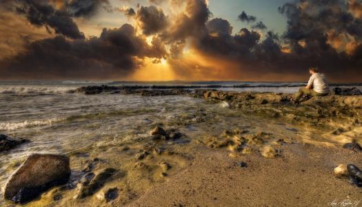 海岸,西班牙,海,景观,天空,云,金丝雀,特内里费岛,性质