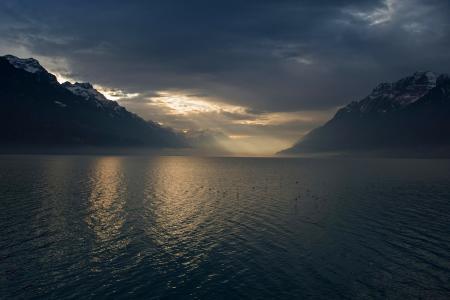 自然,山,世界的鸟,阴云密布