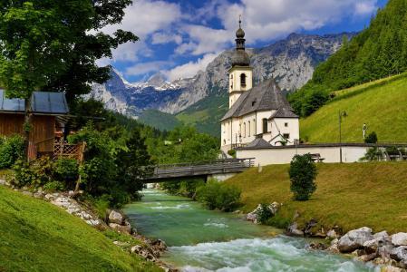 自然,景观,巴伐利亚,山,阿尔卑斯山,谷,流,河,教堂,桥