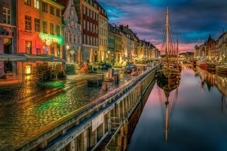 船只,哥本哈根,城市,运河,丹麦,堤防,房屋