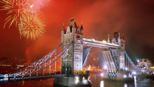 烟花,伦敦,城市,建筑,塔桥