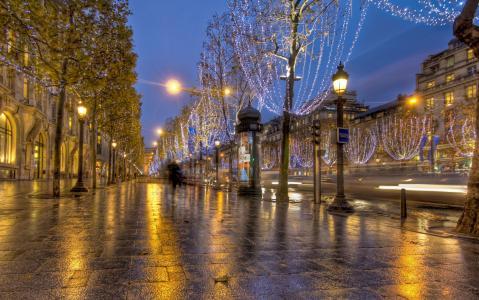 路面,灯笼,晚上在香榭丽舍大街,法国巴黎