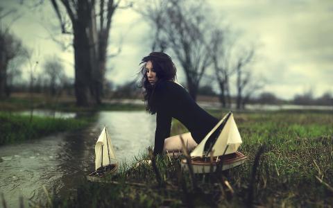 自然,女孩,船舶