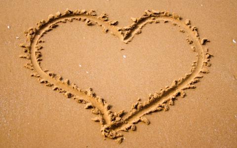 写,心情,心,心,性质,沙子