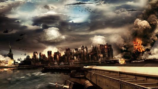城市,摩天大楼,云,桥