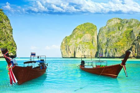 岩石,水,海,船,海洋,岛,天空