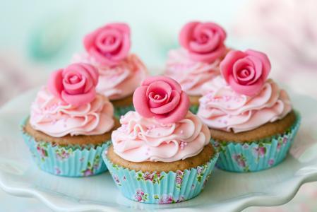 菜,蛋糕,玫瑰,奶油,甜点