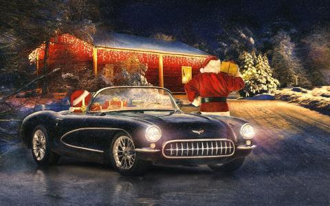 圣诞老人,圣诞老人,新年,礼物,克尔维特