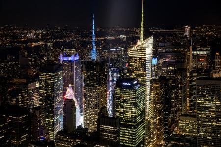 NYC,城市,美国,摩天大楼,纽约市,晚上,纽约,美国