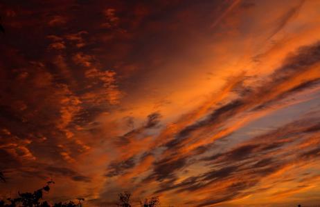 天空别致,美女,天空,云,日落