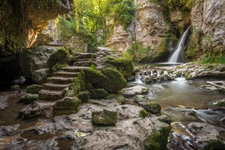 自然,瑞士,山,岩石,石头,瀑布,苔藓,楼梯