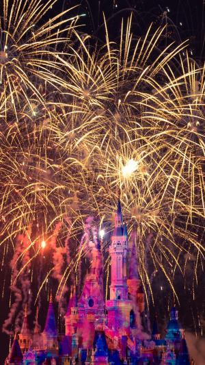 迪士尼城堡的烟火
