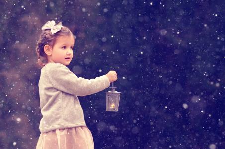 女孩,手电筒,雪,弓