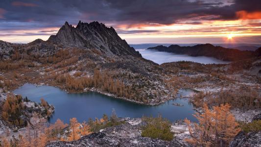 山,湖,性质,日落,普鲁士峰,树木