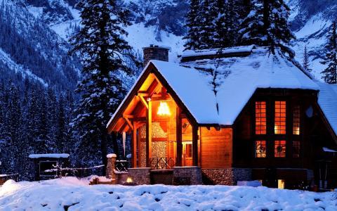 雪,光,性质,房子,夜,房子
