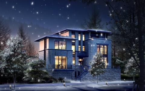 光,房子,冬天,灯,雪