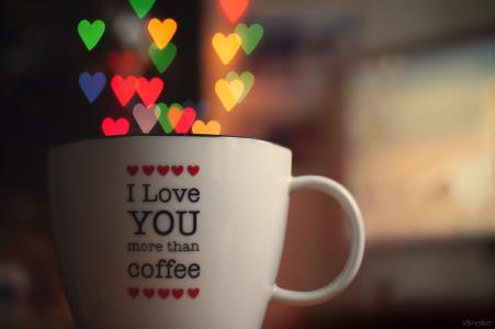 杯,心,散景,爱,柔光,灯