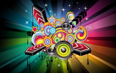 颜色,扬声器,3d箭头,星星,彩条