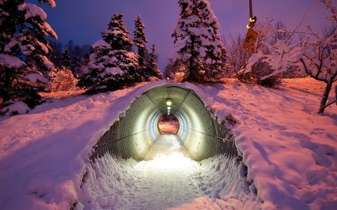 冬天,tonnel,光,新年的心情,创意