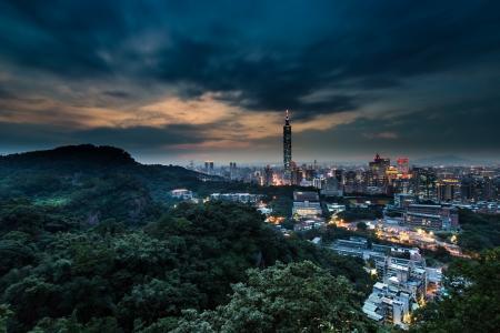 暮光之城,台湾,中山,高山,中国,晚上,台北,城市
