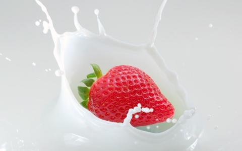 草莓,奶油,飞溅