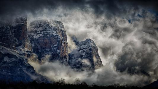 自然,摄影,风景,山,云,雾,雪,悬崖,希腊