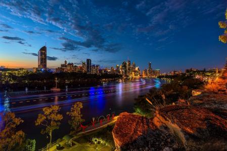 晚上,澳大利亚,树木,布里斯班,灯,河,石头,房子,路堤,建筑物