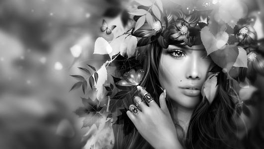 3D,图形,艺术,女孩,黑妞,花圈,鲜花,叶子,蝴蝶,单色