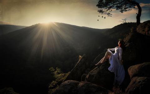 山,绘画,光芒,Froggi小姐释放某人,礼服,自然