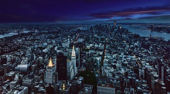 纽约,城市,晚上,灯,顶部