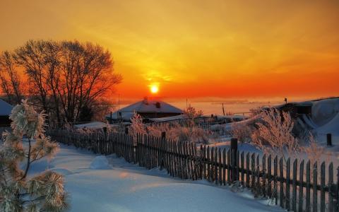 冬天,日落,村庄,围栏,太阳