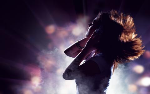 女孩,耳机,听力,音乐,背景,心情