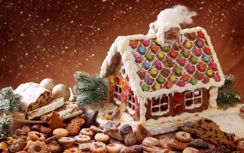 冬天,粉,降雪,假期,圣诞节,魔术,饼干,糖果,糕点,山寨,姜饼,乡村,饼干