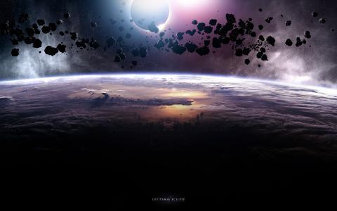 星球,陨石,黑暗,光明
