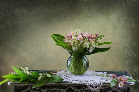 Elizaveta Shavardina,桌子,餐巾,花边,花瓶,花朵,雏菊,铃兰