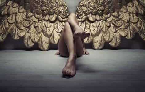 天使,腿,翅膀,女孩