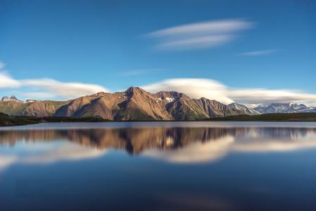 天空,湖,山,反射,瑞士,菲利克斯Ostapenko