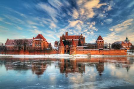 湖,云,堡垒,波兰,天空,冬天