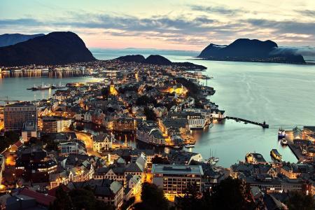 海,__lesund,挪威,城市,挪威,全景,奥勒松