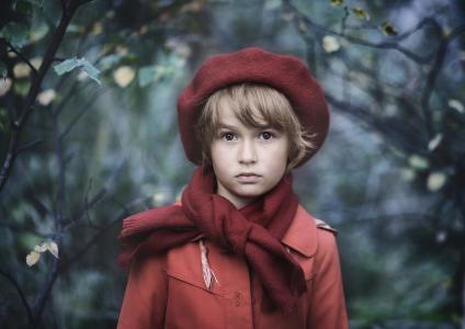 秋天,女孩,眼睛,贝雷帽,围巾,外套,叶子