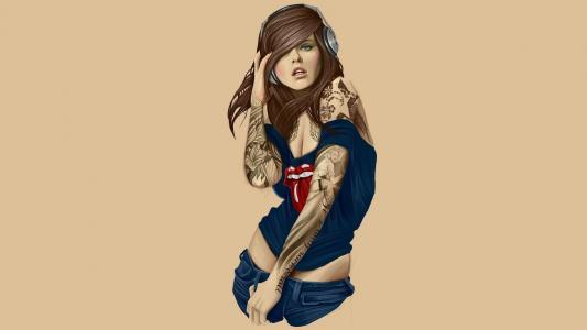 绘图,女孩,纹身,耳机,眼罩,领带,美丽