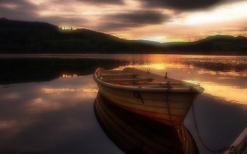 晚上,船,日落,水