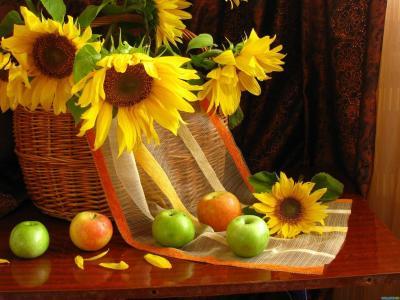 鲜花,静物,苹果,花瓣,水果,向日葵