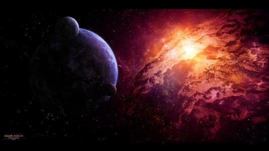 星云,卫星,小行星,行星,星云,星星
