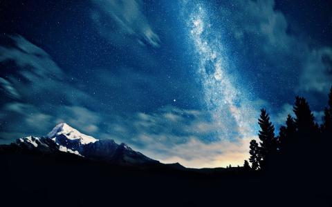 空间,星星,山,天空,夜,云,树