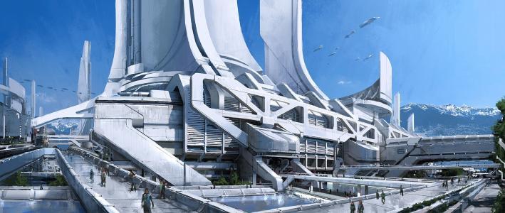 质量效应3,城市,交通,thessia,塔,概念艺术,山