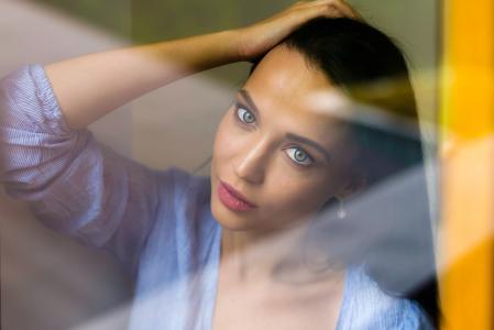 女孩,模型,安吉丽娜·佩特洛娃,安吉丽娜·佩特洛娃,肖像,窗口,看