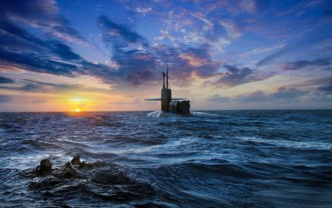 海,水肺潜水,日落,天空,潜艇