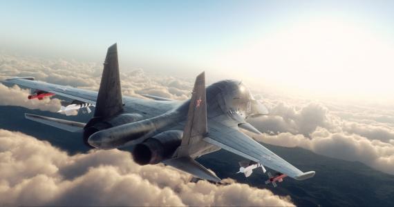 渲染,云,战斗机,苏34